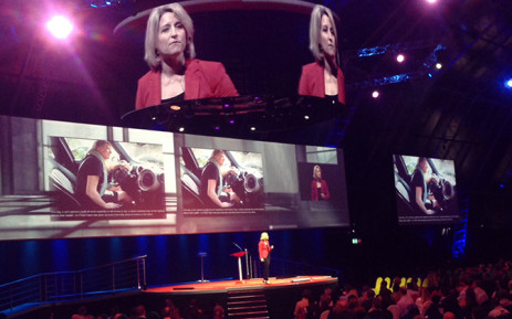 Futurethink CEO Lisa Bodell delivers a presentation during the Accenture Innovation Conference, Thursday 26 February 2015. Picture: Vumani Mkhize/EWN.