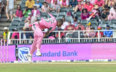 Kagiso Rabada in action during the Pink ODI vs Pakistan on Sunday, 27 January. Picture: @OfficialCricketSA/Twitter.