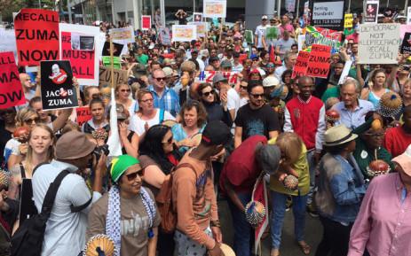 Demonstrators at the Zuma Must Fall march in Braamfontein. Picture: Vumani Mkhize/EWN.