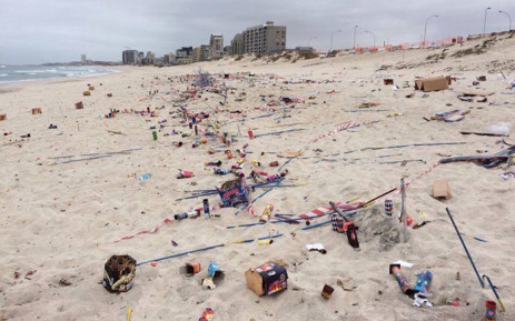Blouberg Beach became littered after Guy Fawkes night on 5 November 2015. Picture: @WillieScheepers via Twitter.