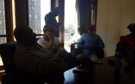 The EFF is staging a sit-in at the offices of Joburg Metro following violent evictions where 2 people were killed in Lenasia. Picture: Koketso Motau/EWN