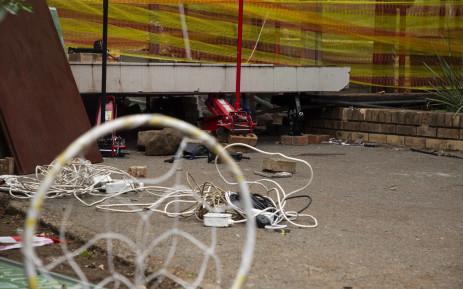 The scene where a walkway collapsed at Hoërskool Driehoek, killing three children. Picture: Christa Eybers/EWN.