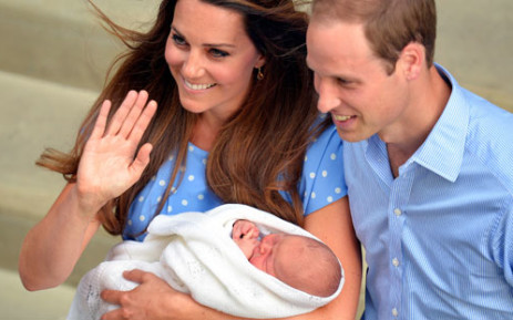 Prince William and Catherine show their newborn baby boy to the world's media outside the Lindo Wing of St Mary's Hospital in London on 23 July 2013. Picture: AFP