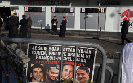 Republican guards stand outside the Hyper Cacher supermarket ahead of a ceremony marking the second anniversary of the deadly attack against the store in Paris on January 5, 2017. Picture: AFP