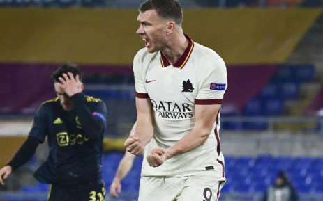 Roma's Edin Dzeko' celebrates his goal against Ajax Amsterdam in their Uefa Europa League second league quarterfinal match on 15 April 2021. Picture: @ASRomaEN/Twitter