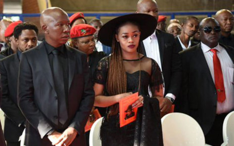 EFF leader Julius Malema and his wife Mantwa Matlala-Malema at his grandmother's funeral on 11 May 2019. Picture: @EFFSouthAfrica/Twitter