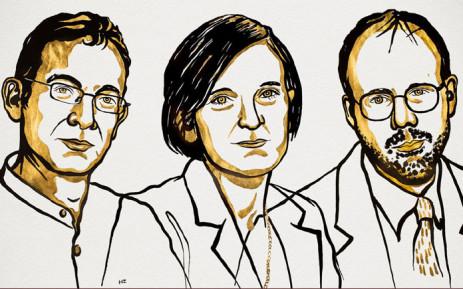 An illustration of 2019 Nobel Economics Prize winners Abhijit Banerjee, Esther Duflo and Michael Kremer. Picture: @NobelPrize/Twitter