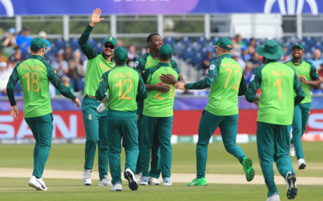 South Africa's Kagiso Rabada (C) celebrates with teammates after dismissing Sri Lanka's captain Dimuth Karunaratne for a duck off the first ball during the 2019 Cricket World Cup group stage match between Sri Lanka and South Africa at the Riverside Ground, in Chester-le-Street, northeast England, on 28 June 2019. Picture: AFP