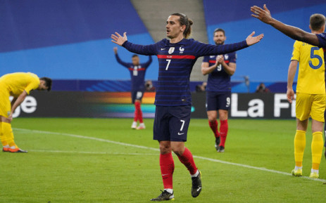 France's Antoine Griezmann celebrates a goal against Ukraine on 24 March 2021 in the 2022 World Cup qualifiers match. Picture: @FrenchTeam/Twitter.