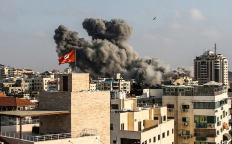 Smoke plumes rising following an Israeli air strike in Gaza City on 14 July 2018. Picture: AFP