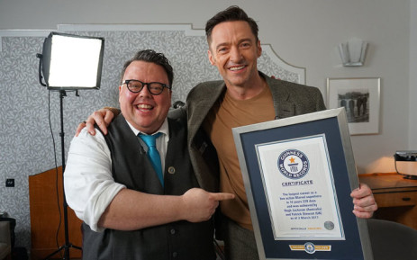 Hugh Jackman has achieved his dream of making it into the Guinness Book of World Records. Picture: @GWR/Twitter.