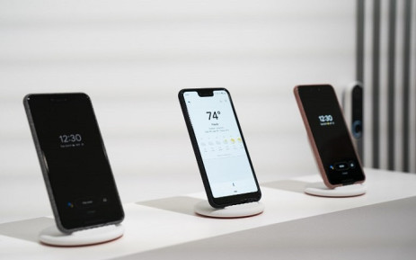 The new Google Pixel 3 smartphone is displayed during a Google product release event on 9 October 2018 in New York City. Picture: AFP.