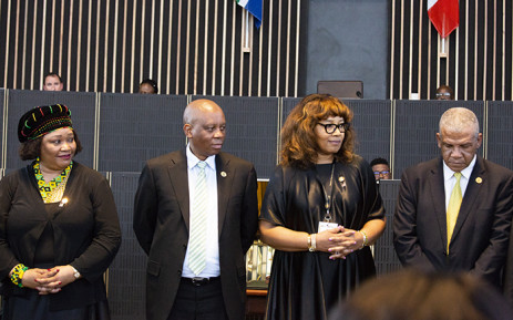 Zindzi Mandela and Zenani Mandela-Dlamini accept the Freedom of the City award on behalf of their late mother Winnie Madikizela-Mandela. Picture: Kayleen Morgan/EWN