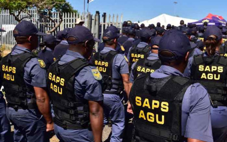 FILE: Members of the SA Police Service's Anti-Gang Unit are seen in Hanover Park, Cape Town, during the launch of the specialised unit on 2 November 2018. Picture: @SAgovnews/Twitter