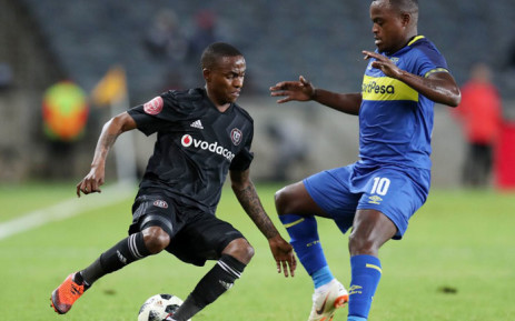 Cape Town City FC's Ayanda Patosi (right) defends against his Orlando Pirates opponent during their Absa Premiership match on 19 September 2018. Picture: @CapeTownCityFC/Twitter