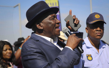 Police Minister Bheki Cele addresses community members in Browns Farm Near near Nyanga. The minister visited the area after the death of four people. Picture: Cindy Archillies/EWN