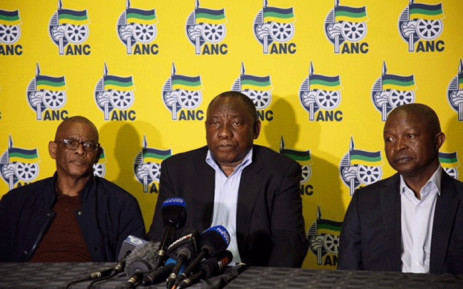 The ANC's Ace Magashule, Cyril Ramaphosa and David Mabuza. Picture: Ihsaan Haffejee/EWN