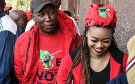 Julius Malema with his wife Mantwa Matlala Malema catsing their vote on 8 May 2019. Picture: Twitter/@EFFSouthAfrica