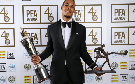 Liverpool defender Virgil van Dijk with his English PFA Player of the Year Awards. Picture: @LFC/Twitter