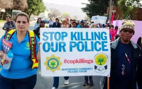 People demonstrate against killing of police in Gauteng. Picture: SAPS.