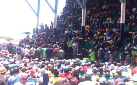 FILE: Amcu members listen to the union's President Joseph Mathunjwa at Wonderkop Stadium on the first day of the cross-company platinum strike on 23 January. Picture: Govan Whittles/EWN.