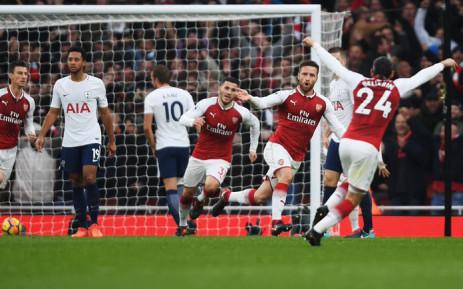 Arsenal's Shkodran Mustafi (second right) celebrates his goal. Picture: @Arsenal/Twitter