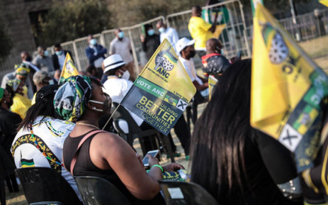 ANC supporters wait for the launch of the party's election manifesto at Church Square in Tshwane on 27 September 2021. Picture: Abigail Javier/Eyewitness News