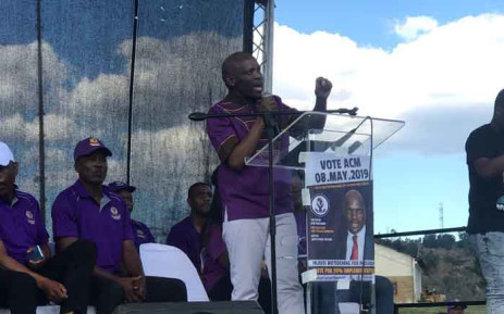 ACM leader Hlaudi Motsoeneng addressed a crowd of supporters during a rally at a stadium in Harrismith, Free State on 4 May 2019. Picture: @LeratoMotsoene7/Twitter
