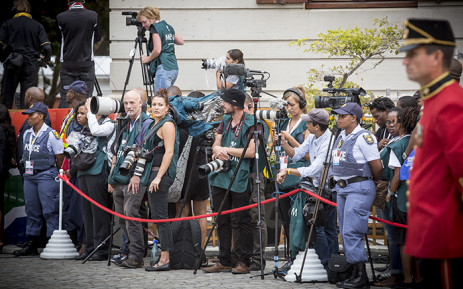 FILE: Members of the media gathered in their numbers, patiently waiting for President Zuma to arrive. Picture: Thomas Holder/EWN
