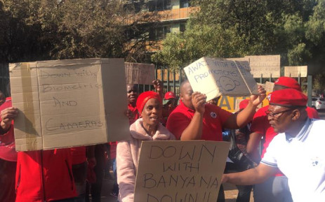 Teachers affiliated to Sadtu at Johannesburg School for Autism on 21 August 2019 demonstrate against poor working conditions. Picture: EWN.
