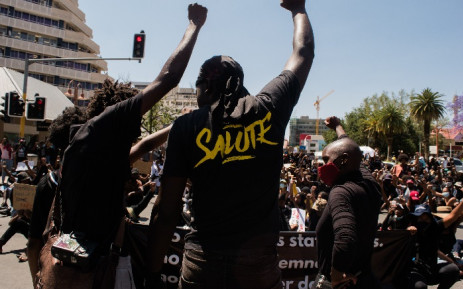 Protesters gesture during the second day of the #ShutItDown Protests, where hundreds of Namibian youth protested against gender-based violence by shutting down Windhoek's Central Business District, in Windhoek, Namibia, on October 9, 2020. Picture: AFP
