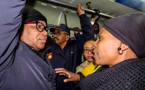 Transport Minister Fikile Mbalula on a train with Khayelitsha commuters on Tuesday morning, 25 June 2019. Picture: @MbalulaFikile/Twitter