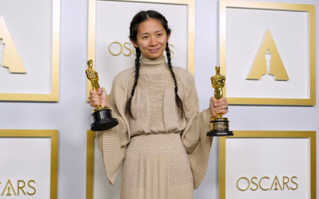 "Director/Producer Chloe Zhao, winner of Best Directing and Best Picture for ""Nomadland,"" poses in the press room at the Oscars on Sunday, 25 April 2021, at Union Station in Los Angeles. Picture: Chris Pizzello-Pool/AFP"