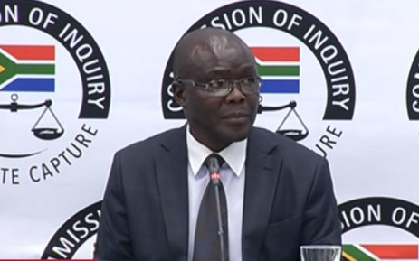 A screengrab shows Peter Thabethe at the state capture inquiry on 20 August 2019.