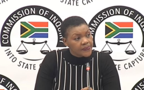 A screenshot shows SABC's head of news Phathiswa Magopeni at the state capture inquiry on 3 September 2019.