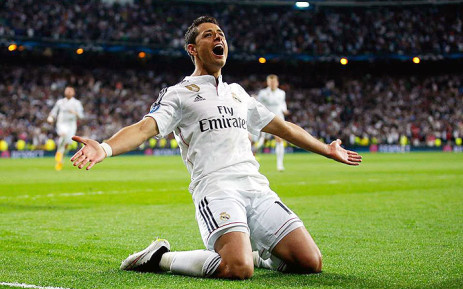 Javier 'Chicharito' Hernandez celebrates after scoring the only goal in the Champions Legaue quarterfinals against Atletico Madrid on 22 April 2015. Picture: Uefa Champions League.