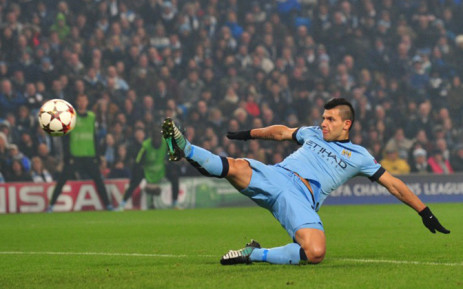 Manchester City's Argentinian striker Sergio Aguero shoots at goal during the UEFA Champions League Group E football match between Manchester City and CSKA Moscow. Picture: AFP.