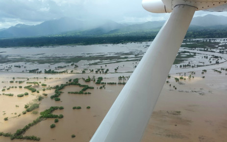 This handout photo released by the World Food Programme shows an aerial view of a flooded area in Chikwawa area, in Malawi, on January 17, 2015. Picture: AFP/World Food Programme.