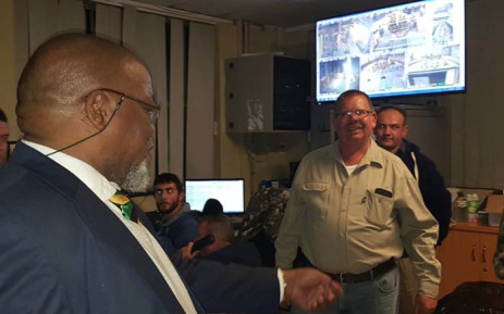 Mineral Resources Minister Gwede Mantashe interacting with Sibanye-Stillwater staff during a visit following the death of four miners at the mine's Kloof Ikamva shaft. Picture: @DMR_SA/Twitter.