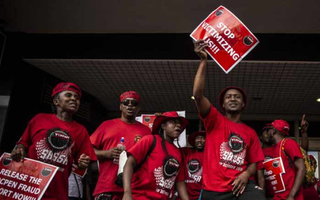 FILE: Nehawu workers protest outside one of the Sassa offices in Johannesburg on 10 October 2018 against Sassa's biometric system for beneficiaries. Picture: Abigail Javier/EWN