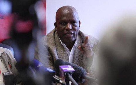 The National Union of Mineworkers president Senzeni Zokwana at a news briefing in Johannesburg. Picture: Taurai Maduna/EWN.