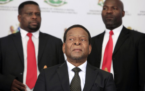 Zulu King Goodwill Zwelithini looks on prior to deliver a speech during a traditional gathering called Imbizo at the Moses Mabhida Football Stadium in Durban on 20 April, 2015. Picture: AFP.