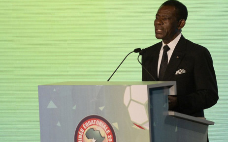 FILE: Equatorial Guinea President Teodoro Obiang Nguema delivers a speech during the 2015 African Cup of Nations draw ceremony on 3 December, 2014 in Malabo. Picture: AFP.