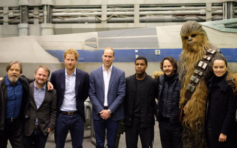 Prince William and Prince Harry toured Pinewood Studios where they met actors Daisy Ridley, John Boyega, Mark Hamill, Chewbacca, and members of the 'Star Wars' creative team. Picture: Kensington Palace.