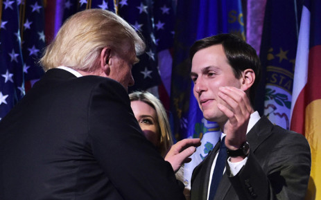 This file photo taken on 9 November, 2016 shows President-elect Donald Trump with son-in-law Jared Kushner (R) during an election night party at a hotel in New York. Picture: AFP.