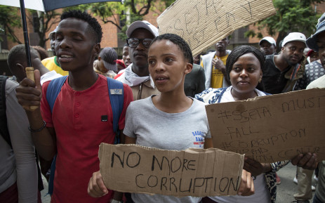 FILE: Members of the Economic Freedom Fighters student command staged a protest outside the Department of Higher Education in Pretoria. Picture: EWN