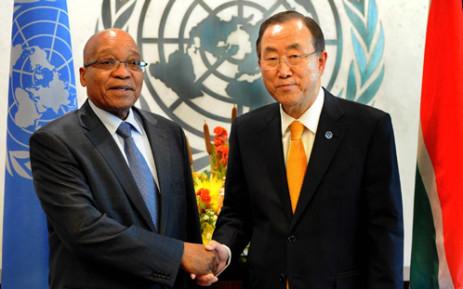 FILE: President Jacob Zuma with UN Secretary General Ban Kin Moon in New York. Picture: GCIS