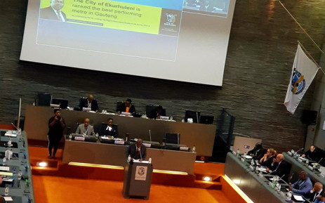 Ekurhuleni Mayor Mzwandile Masina delivers his state of the city address on 27 March 2019 at the Germiston Council Chambers. Picture: @City_Ekurhuleni/Twitter