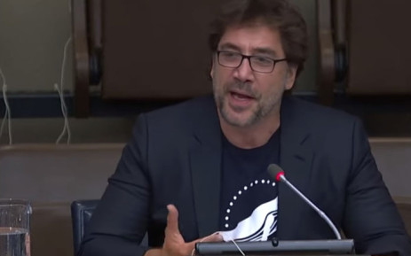 A YouTube screengrab shows Javier Bardem address the United Nations.