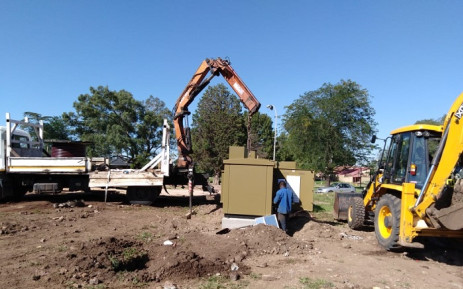The Newclare mini-substation being reinstalled after it exploded while a homeless person was occupying it. Picture: CityPowerJhb/Twitter